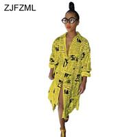 vestido de botão amarelo venda por atacado-Zjfzml Casual Impresso T Shirt Vestido de Mulheres Brancas de Manga Longa Dividir Frente Vestido de Festa Ocasional Amarelo Turn-down Collar Botões Vestido J190619