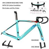 frenos de disco de bicicleta de carretera de carbono al por mayor-2019 XR4 fibra de carbono bicicleta de carretera marco tija tenedor con manillar 5D carbono UD freno de llanta de la armadura de marcos de carbono de freno de disco