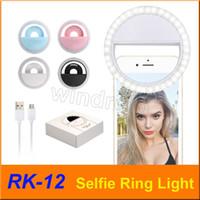 RK12 RK-12 Rechargeable Universal LED Selfie Light Ring Light Flash Lamp Selfie Ring Lighting Camera Photography For all mobile phone