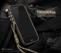 taktisches handy großhandel-4thdesign Handy Trigger Metallrahmen Stoßstange für iPhone 8 4 4 s 5 5 s SE 6 6 S 7 plus Aluminium Stoßstange Fall taktische Ausgabe KOSTENLOS