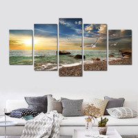 Wholesale sea wall art panels for sale - Group buy 5 Piece Wall Art Canvas Sunset Sea Wall Art Picture Canvas Oil Painting Home Decor Wall Pictures for Living Room No Framed