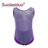 ingrosso maglia verde per le ragazze-Balletto Skate Body per ragazze Dark Purple Shiny Metallic Vest Gilet Green Body Spandex Costume Kids Dance Wear
