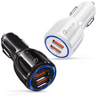 ingrosso caricabatteria 12v android-Cell Phone Car Charger Dual USB QC3.0 Fast Charge adattatore Smart Charger 12V 3.1A per iPhone Android Samsung Smartphones