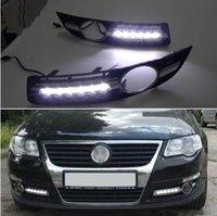 volkswagen için gündüz farları yol açtı toptan satış-Süper parlak Su Geçirmez araba ışık DRL LED Gündüz Farları sis lambası deliği ile VW Volkswagen Passat B6 2007 2008 2009