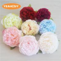 yapay şakayık çiçek başları toptan satış-50 adet 10 cm 8 RENKLER Yapay Çiçekler Ipek Şakayık Çiçek Başları Düğün Dekorasyon Malzemeleri Simülasyon Sahte Çiçek Baş Ev dekorasyon