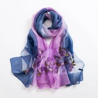 Wholesale purple shawls scarves resale online - Good quality Spring wild embroidered silk scarves embroidered wool scarf autumn and winter female factory outlets women large shawl