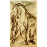 abstrakte ölgemälde pferde großhandel-Handgemalte abstrakte Kunst Franz Marc Ölgemälde junges Pferd im Gebirgslandschaftsraumdekor