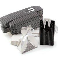 ingrosso scatole regalo del vestito da cerimonia nuziale-3 pezzi sposa e 3 pezzi sposo confezioni regalo smoking e abito da sposa bomboniera abito abito caramelle sacchetto decorazione per matrimonio