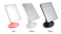 führte lichter zum verkauf großhandel-Heißer Verkauf 360-Grad-Drehung Touchscreen Kosmetikspiegel mit 16/22 LED-Leuchten Professionelle Kosmetikspiegel Tisch Desktop Kosmetikspiegel