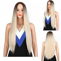 прямые длинные золотые парики оптовых-Super Brazilian Sexy Women Hair Wigs Blonde Wig Ombre Long Brown Gold Straight Black Synthetic Hair Wigs