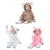 Wholesale winter jumpsuits pajamas for sale - Group buy Clothes Flannel Pajamas Set Girl Boy D Kids Baby Cartoon Bear Rompers Animal Ear Hooded Winter Jumpsuit Chrismas Gift M New