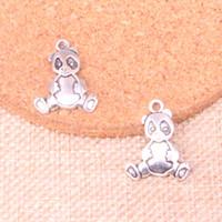 Wholesale antique bear pendant resale online - 82pcs Charms panda bear Antique Silver Plated Pendants Fit Jewelry Making Findings Accessories mm
