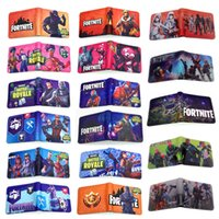 Wholesale Fortnite wallet styles Kids Fortnite D PU wallet bags New Children Cartoon game wallet coin purse bag Cartoon Figure Toys Action Toys
