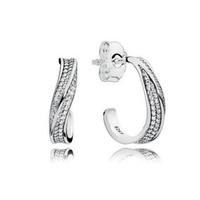 крючок для сережек оптовых-Стерлингового серебра 925 CZ бриллиантовые серьги оригинальная коробка для Pandora элегантные волны серьги крюк уха для женщин Девушки подарок ювелирные изделия Серьги