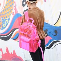ingrosso borsa di tipo ragazza-Zaino in PVC trasparente per ragazza da spiaggia Borsa in plastica impermeabile per studenti Borsa di stoccaggio impermeabile 4 tipi T3I5275