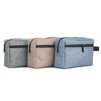 saco de cosméticos cinza venda por atacado-À prova d 'água oxford viagem toiletry bag cosméticos bolsa pincéis de maquiagem bolsa de armazenamento com tote cinza azul cáqui