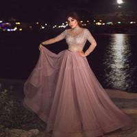 lange sexy abendkleider illusion kleider groihandel-High Neck Altrosa Muslim Abendkleid Illusion lange Hülse Kristall Perlen Plus Size Arabisch Abendkleider für Frauen Dubai Abendkleider