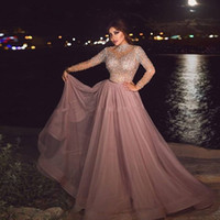 Wholesale neck pieces for dresses resale online - High Neck Dusty Pink Muslim Evening Dress illusion Long Sleeve Crystal beaded Plus Size Arabic Formal Dresses for Women Dubai Prom Gowns