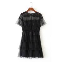 ingrosso notte nera del partito di vestito da notte della donna nera-Moda di alta qualità europea e americana Trend Fengjuan Net Abito a maniche corte Elegante Lady Modello Nero S-M Taglia