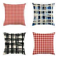 Wholesale 18x18 pillow cushion covers resale online - Classic Plaid Pillow Cover x18 Inch Linen Pillow Case Red Blue Lattice Throw Pillow Cushion Cover Home Christmas Decoration DBC VT1029