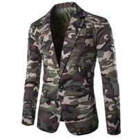 ordu tarzı elbise toptan satış-Avrupa Tarzı Ordu Tasarımcı Rahat Erkek Takım Elbise Blazer Mont Kamuflaj Elbise Elbise Ceket ve Ceket Slim Fit Streetwear B598