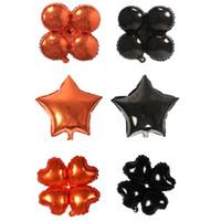 aufblasbare party dekoration stern großhandel-18 zoll halloween vier kleeblatt herz stern luftballons halloween dekorationen folie helium ballon aufblasbares spielzeug partei liefert jk1909