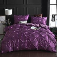 comforter azul cheio de cetim venda por atacado-SOLEDI Conjuntos de Cama Folha De Cama Quilt Cover 3 pcs de Luxo Home Hotel Cama Capa de Edredão Conjuntos Duvet Gift Pillow Case