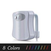 nachtlichtfarben großhandel-Smart PIR Bewegungssensor Wc-sitz Nachtlicht 8 Farben Wasserdichte Hintergrundbeleuchtung Für Toilettenschüssel LED Luminaria Lampe WC Wc Licht