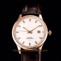 Wholesale constellations watch online - 2019 New CONSTELLATION mm Date White Dial Japan Miyota Automatic Mechanical Mens Watch Rose Gold Leather Strap Sapphire Glass Watches