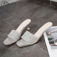 кристалл с открытыми пальцами оптовых-Rimocy 2019 летняя обувь женщина тапочки новые тонкие каблуки сандалии Женские высокие каблуки Кристалл открытым носком обувь женщины шпильках тапочки