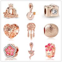 Wholesale dinosaurs movies resale online - MOQ rose gold european mixed dinosaur flower diy bead fit pandora charms bracelet for women men jewelry D057