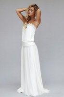 Wholesale white gown sleeveless red ribbon waist online - 2016 Vintage Chiffon Strapless Lace Ribbon Dropped Waist Backless Long Boho Bridal Gowns s Custom Made Beach A Line Bridal Gowns
