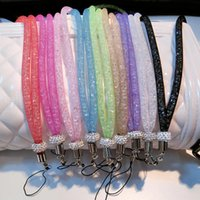 Wholesale phone cords lanyards resale online - Crystal Lanyard Necklace ID Badge Mobile Cell Phone Keychain Glitter Cord Strap Lanyard Necklace Keychain Holder