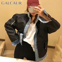 chaqueta de mezclilla de moda de corea al por mayor-GALCAUR Patchwork coreano chaqueta de mezclilla abrigo para mujer cuello de solapa manga larga chaquetas femeninas de gran tamaño 2019 moda nuevo