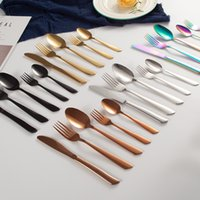 Wholesale stainless steel steak knives resale online - 5 Set Stainless Steel Western Steak Cutlery Knife Spoon Set Portable Dessert Fork Lunch Set Travel Colorful Dinnerware VT1527 T03