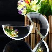 lupa de escritorio al por mayor-Clara de aumento de cristal de la bóveda lupa de lectura semi pisapapeles de cristal bola de cristal de cuarzo bola bola transparente de regalo decorativo