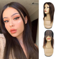 Wholesale brazilian human hair wig middle part for sale - Group buy KISSHAIR dark brown x4 lace closure wig middle part straight Brazilian human hair front lace wig