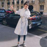 trincheira com capuz branco venda por atacado-2019 New White Com Cordão Blusão Com Capuz para As Mulheres Nova Moda Casual Grande Casaco Feminino Trench Casaco Feminino tamanho