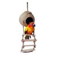 kuş evleri toptan satış-Yeni Doğal Ahşap Papağan Oyuncaklar Hindistan Cevizi Kabuğu Ahşap El Yapımı Papağan Papağan Ev Eşleşen Merdiven Için Kuş Oyuncaklar