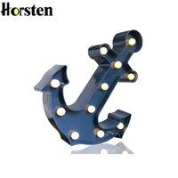 ingrosso regali di ancoraggio svegli-Vintage Luci Carino Marquee Horsten 3D Anchor LED Night Light per il regalo dei bambini dei bambini Camera da letto Soggiorno Interni Home Decor