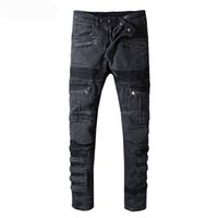 çok pantolon pantolon kot toptan satış-Moda Erkekler Pileli Biker Jeans Pantolon Çok Cepler Ile Slim Fit Motosiklet Denim Pantolon Erkek Artı Boyutu 29-42
