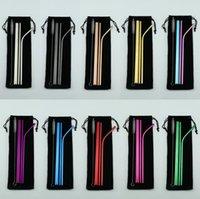 conjuntos de barras de herramientas al por mayor-304 acero inoxidable paja Conjunto doblado recto paja colorido reutilizable con un limpiador de cepillo batidos potable de herramientas pajitas de beber la barra del partido