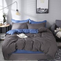 Wholesale dark red bedding resale online - Little Grid Bedding Set King Size Simple Fashionable Classic Dark Grey Duvet Cover Queen Twin Full Single Soft Bed Cover with Pillowcase