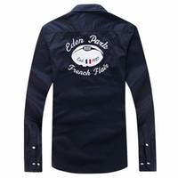 beste männerhemdentwürfe großhandel-Sommer Bester Verkauf beiläufige Hülse lange Eden Park Shirts Herren-Poloshirts Nizza Qualität Fashion Marke Design-beiläufige Hemden Größe M L XL XXL
