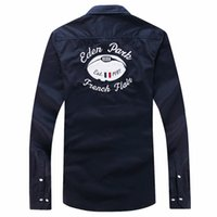 uzun kollu polo yaz toptan satış-Yaz En Çok Satan rahat Eden park uzun kollu gömlek erkek Polo Tops Güzel Kalite Moda marka Tasarım casual gömlek Boyut M L XL XXL