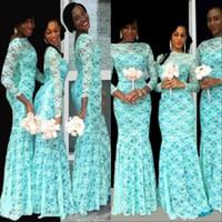 Wholesale wedding plus tulle dresses resale online - Elegant African Bridesmaid Dress Long Sleeves Dubai Dresses Plus Size Lace Bateau Neckline Nigerian Wedding Guest Gowns