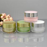 kosmetikglas verpackung gold großhandel-Grünes Goldweißer Acrylplastikkosmetikcremetiegel 5g 10g 15g 30g für kosmetische Verpackungsbehälter