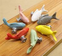 Wholesale ceramic kitchen drawer handles resale online - Children Drawer Knobs Fish Shape Ceramic Handles for Kids Room Kitchen Cabinet Handles Cupboard Knobs Furniture Hardware