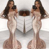 vestido de formatura preto de manga comprida venda por atacado-Impressionante 2020 completa Lantejoula Champagne Mermaid Prom Vestidos manga comprida Alças do partido do evento negras africanas Vestidos Vestido do desgaste da noite