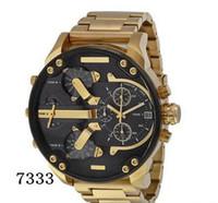 grande moda mens relógios venda por atacado-Esportes Mens Relógios Big Dial Display Top Marca de Luxo relógio de Quartzo Relógio de Aço Banda 7333 Moda relógios de Pulso Para Homens 7315